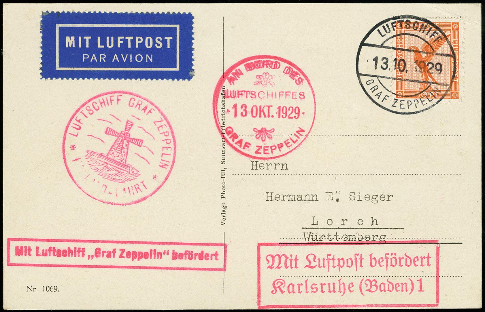 Stamp Auction Airmail Zeppelin Auction 366 Lot 1287