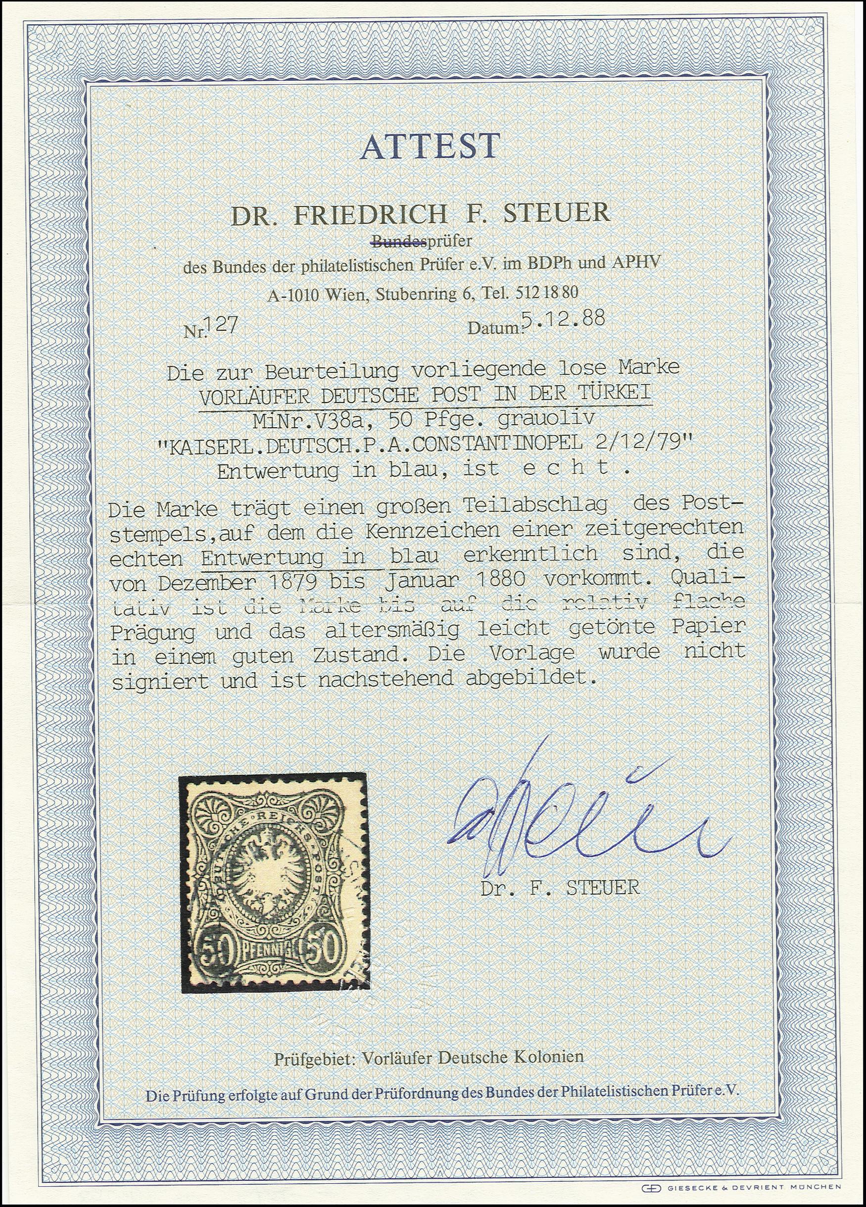 Lot 1556 - german post in turkey german post in turkey - forerunner -  Heinrich Koehler Auktionen Auction #368- Day 4