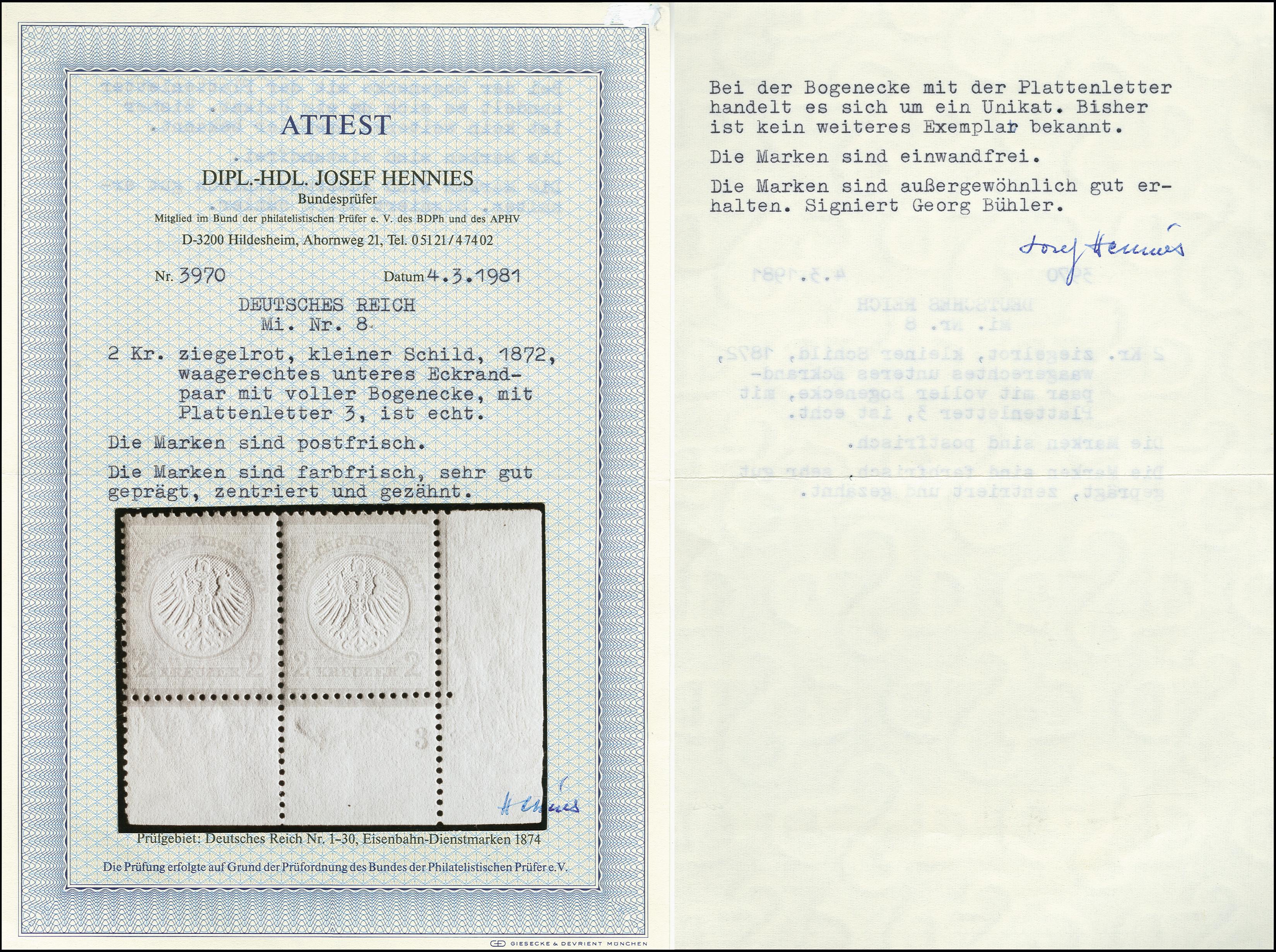 Lot 2990 - Main catalogue German Empire -  Heinrich Koehler Auktionen Auction #368- Day 5