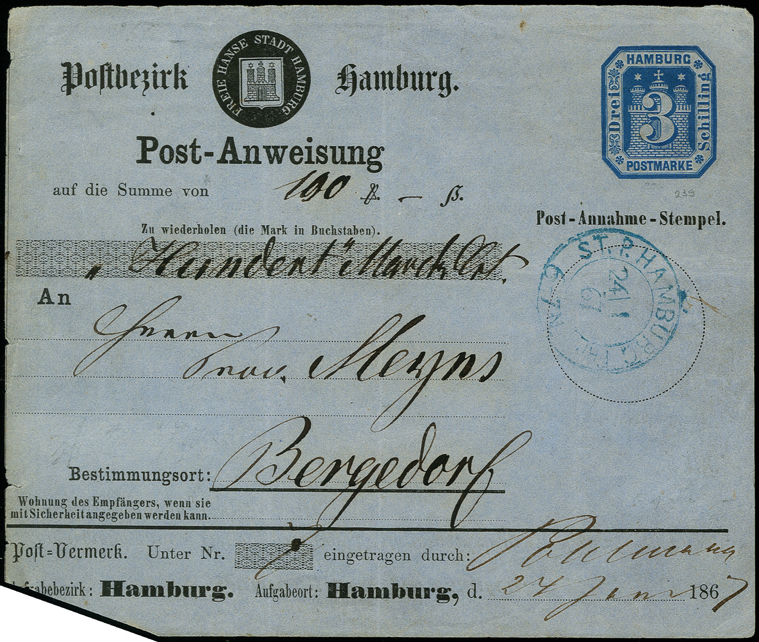 Lot 3413 - hamburg Hamburg postal stationary -  Heinrich Koehler Auktionen Auction #368- Day 5