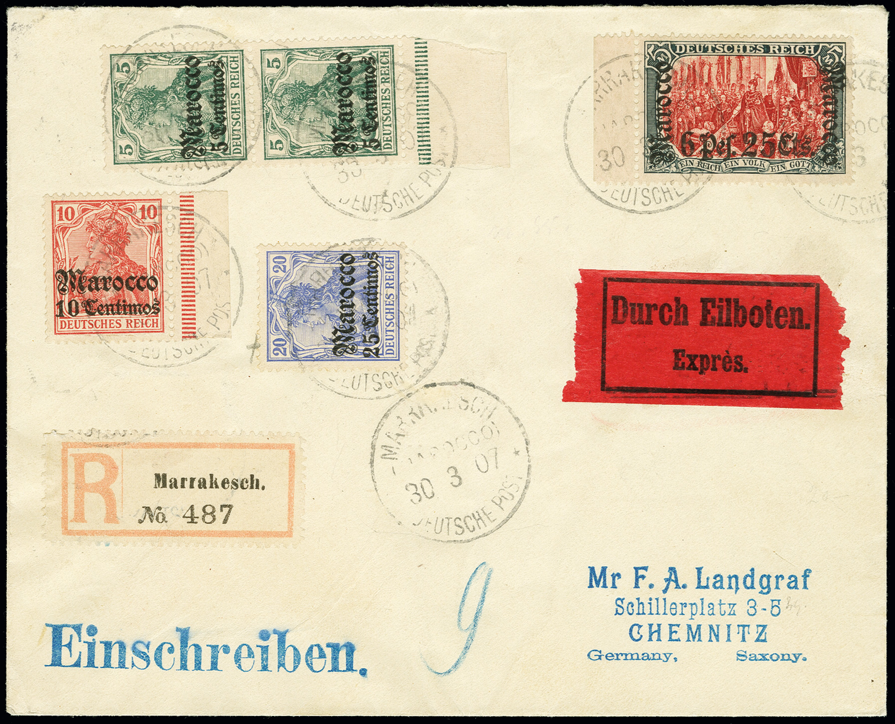 Lot 1551 - german colonies and offices abroad german post in marocco -  Heinrich Koehler Auktionen Auction #368- Day 4