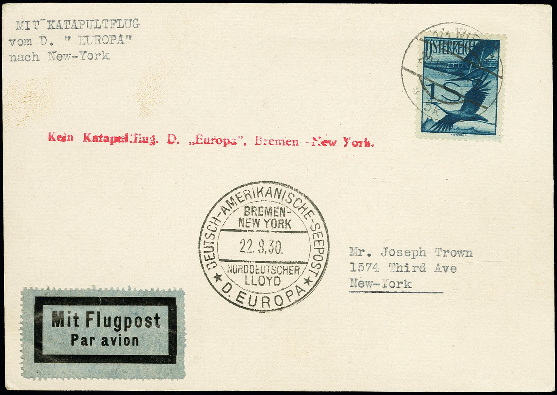 Lot 1154 - airmail catapult post -  Heinrich Koehler Auktionen Auction #368- Day 2
