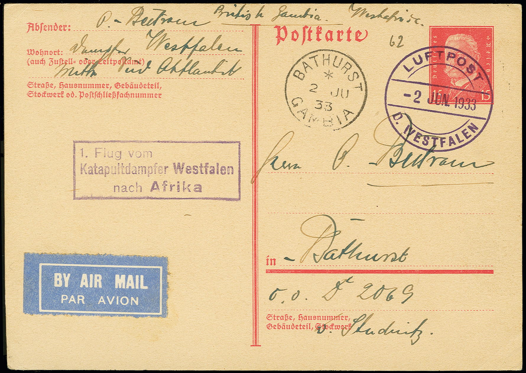 Lot 1152 - airmail catapult post -  Heinrich Koehler Auktionen Auction #368- Day 2