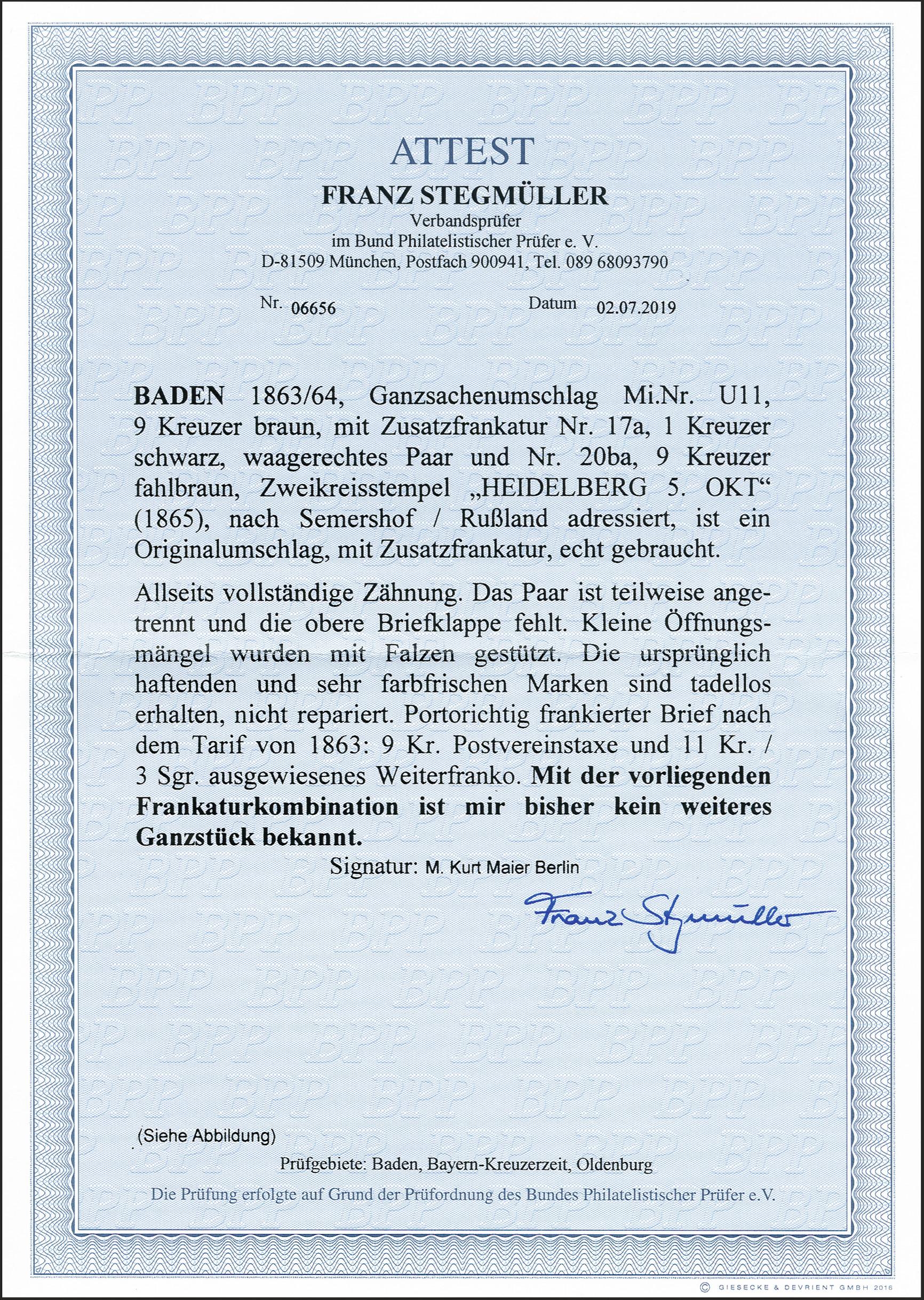 Lot 16 - Baden baden postal stationary -  Heinrich Koehler Auktionen 372nd Auction - The ERIVAN Collection