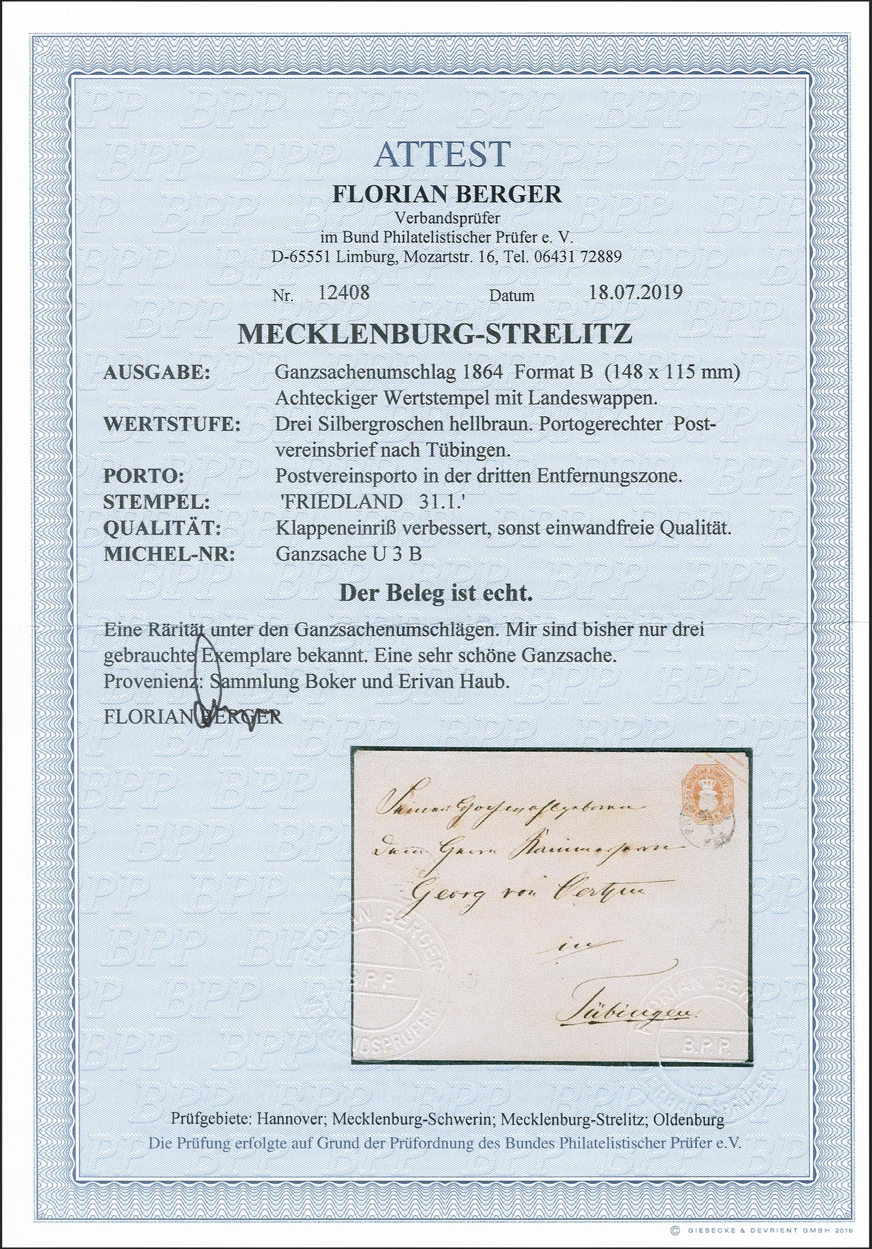Lot 135 - mecklenburg-strelitz Mecklenburg-Strelitz - postal stationary -  Heinrich Koehler Auktionen 372nd Auction - The ERIVAN Collection