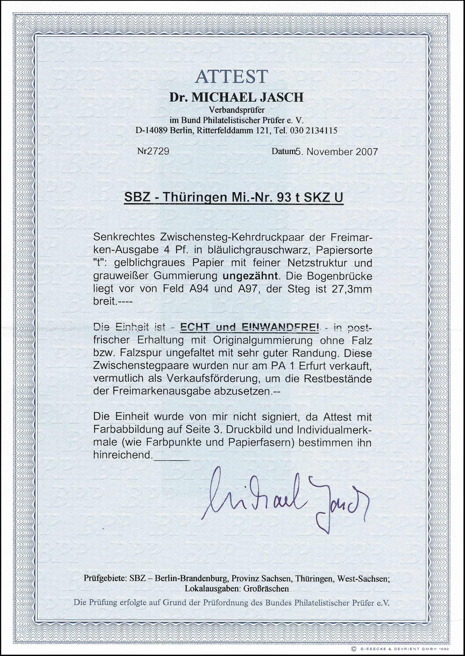Lot 2181 - sbz (soviet occupation zone) thuringia -  Heinrich Koehler Auktionen 373rd Heinrich Köhler auction - Day 4