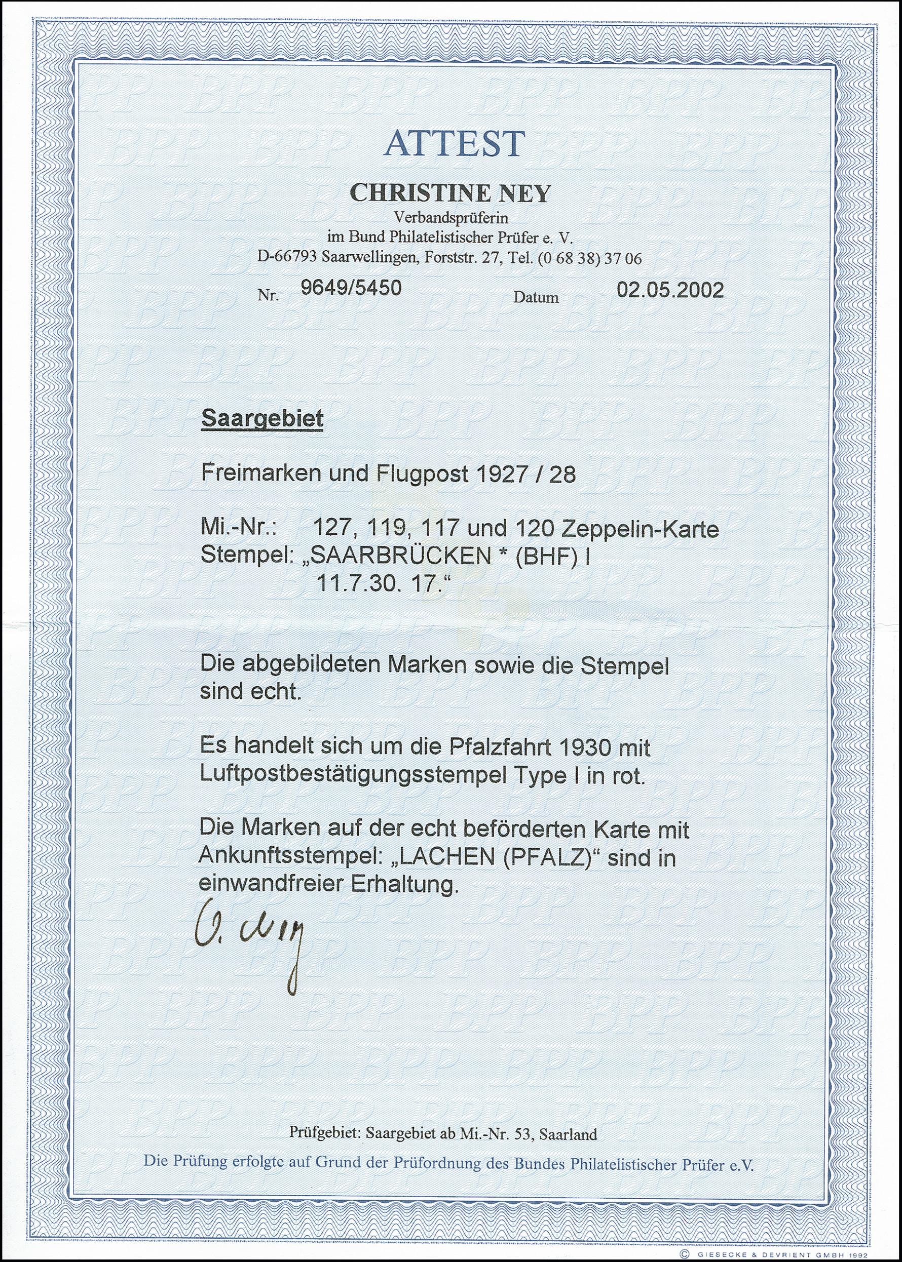 Lot 1322 - Main catalogue Saar, Treaty Post -  Heinrich Koehler Auktionen 373rd Heinrich Köhler auction - Day 2