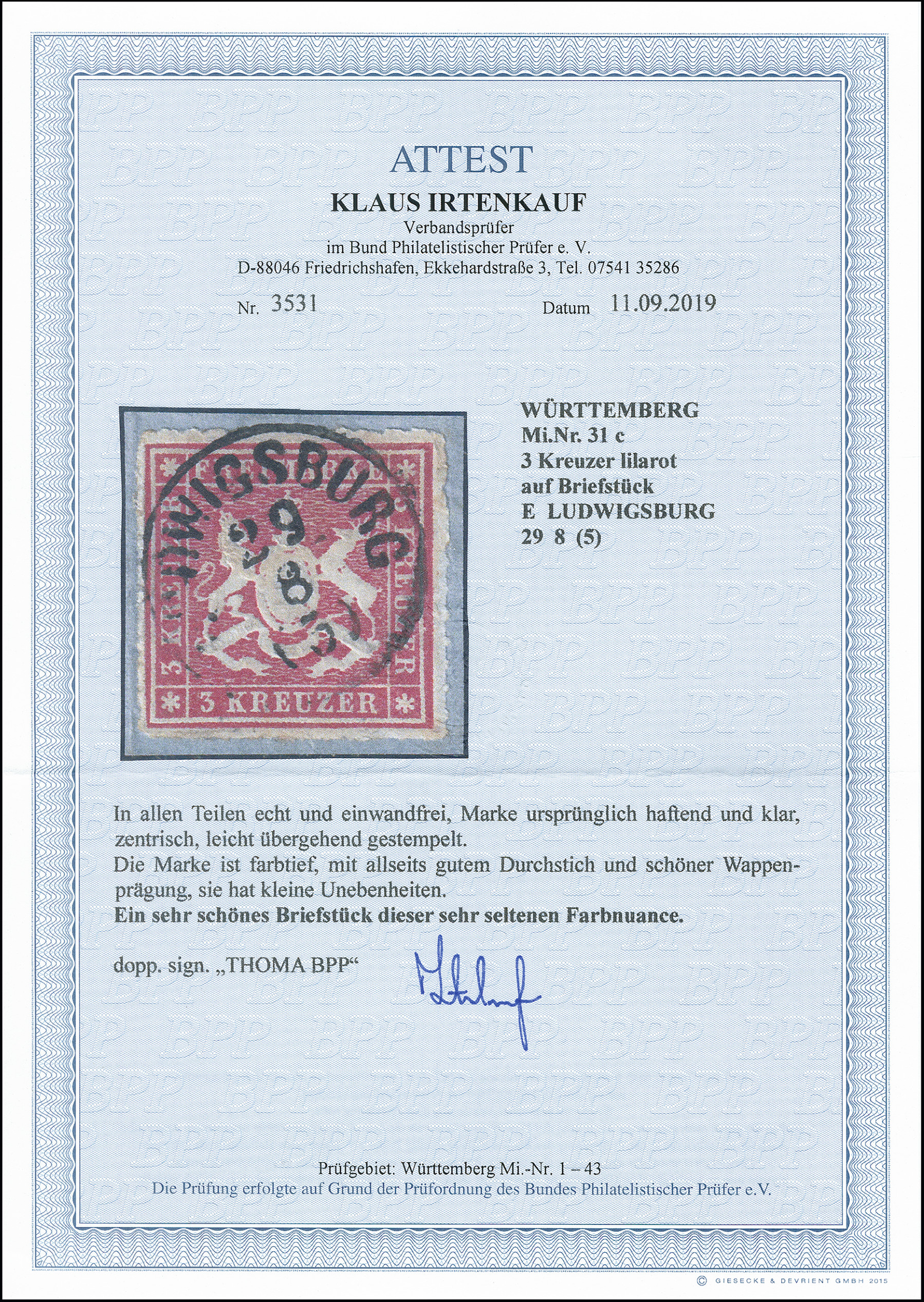 Lot 3100 - german states Wurttemberg -  Heinrich Koehler Auktionen 373rd Heinrich Köhler auction - Day 5