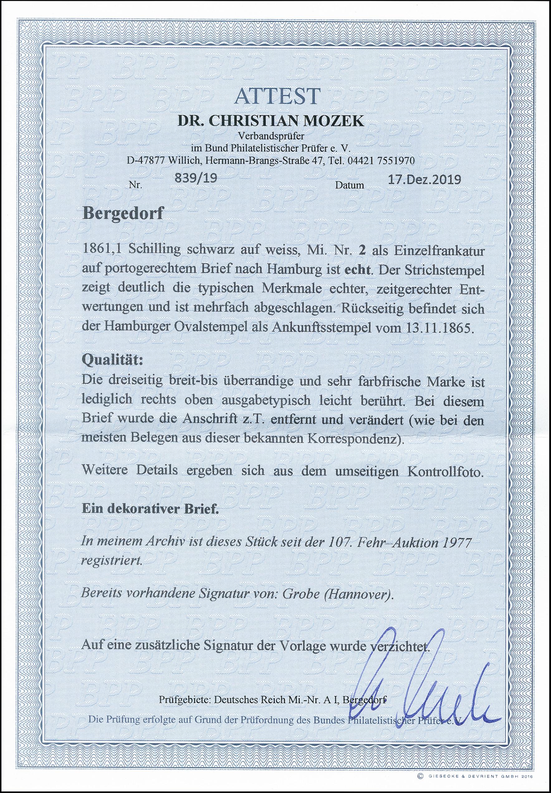 Lot 2949 - german states bergedorf -  Heinrich Koehler Auktionen 373rd Heinrich Köhler auction - Day 5