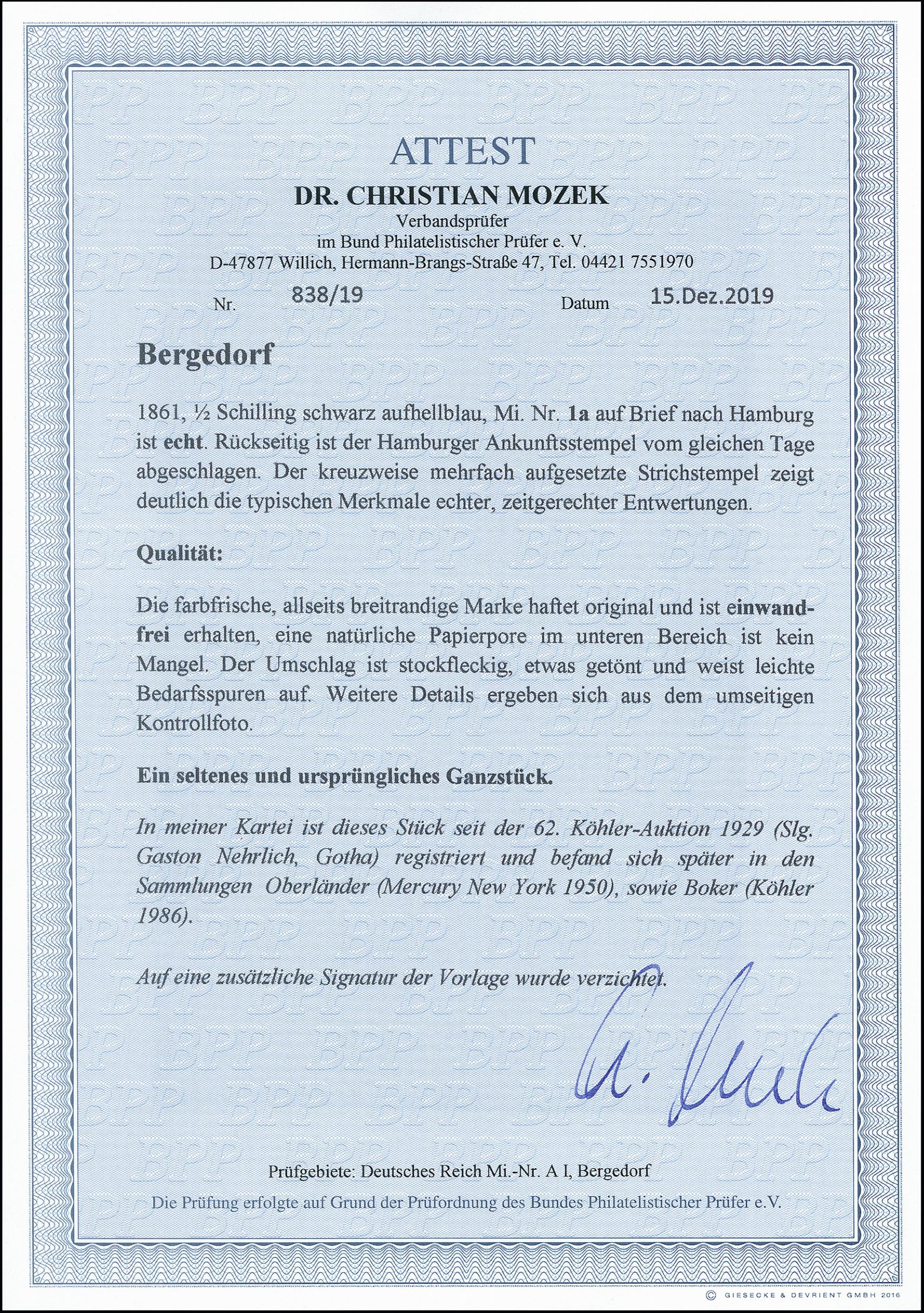 Lot 2948 - german states bergedorf -  Heinrich Koehler Auktionen 373rd Heinrich Köhler auction - Day 5