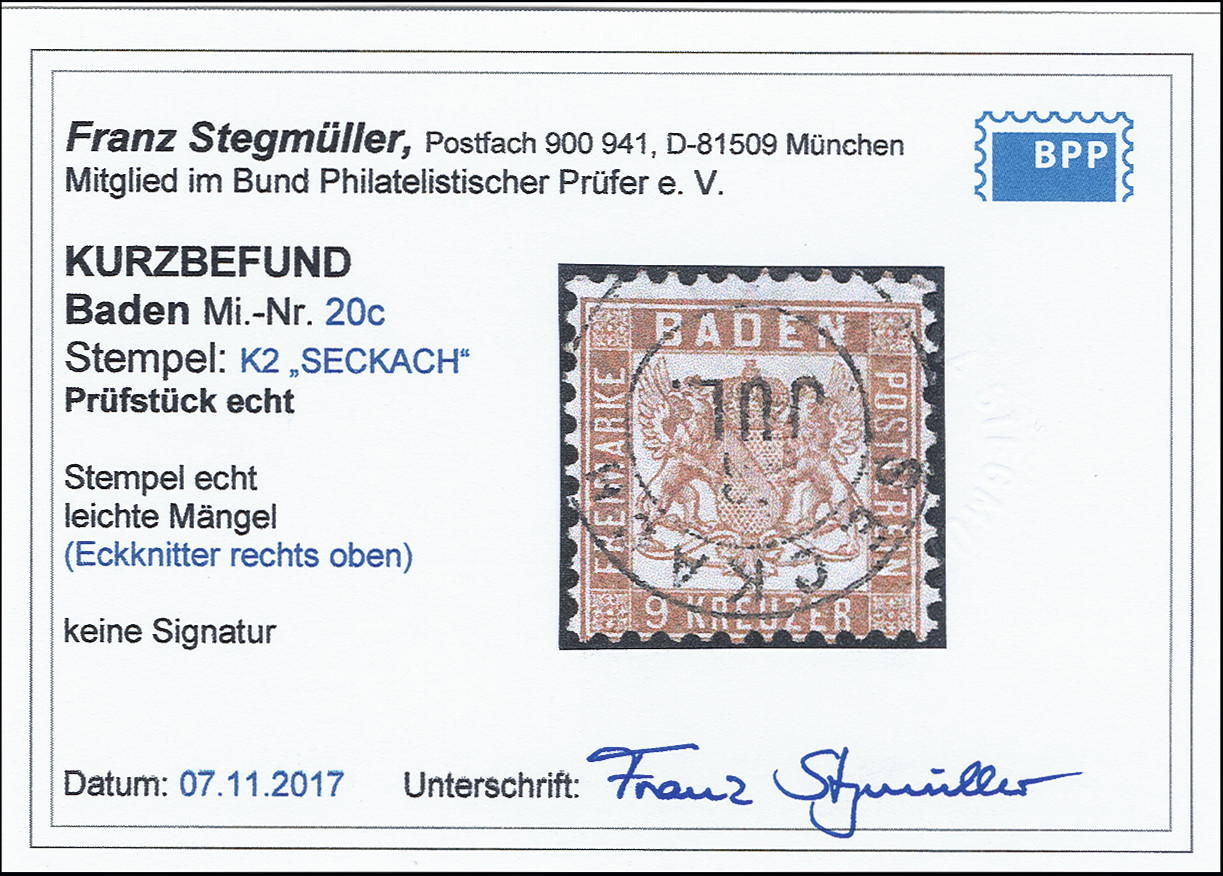 Lot 2851 - german states Baden -  Heinrich Koehler Auktionen 373rd Heinrich Köhler auction - Day 5