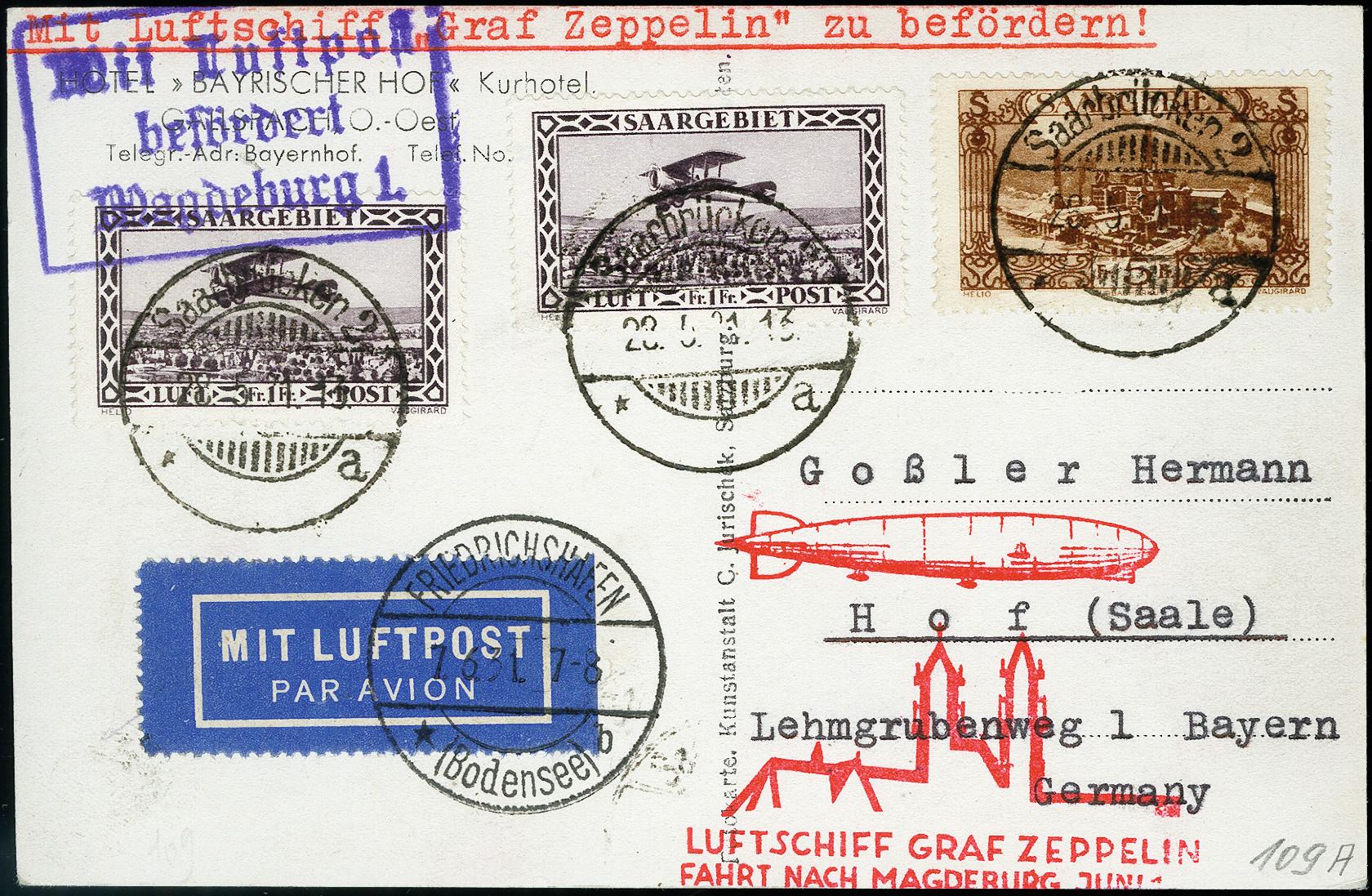 Lot 1323 - airmail Treaty Post, Saar -  Heinrich Koehler Auktionen 373rd Heinrich Köhler auction - Day 2