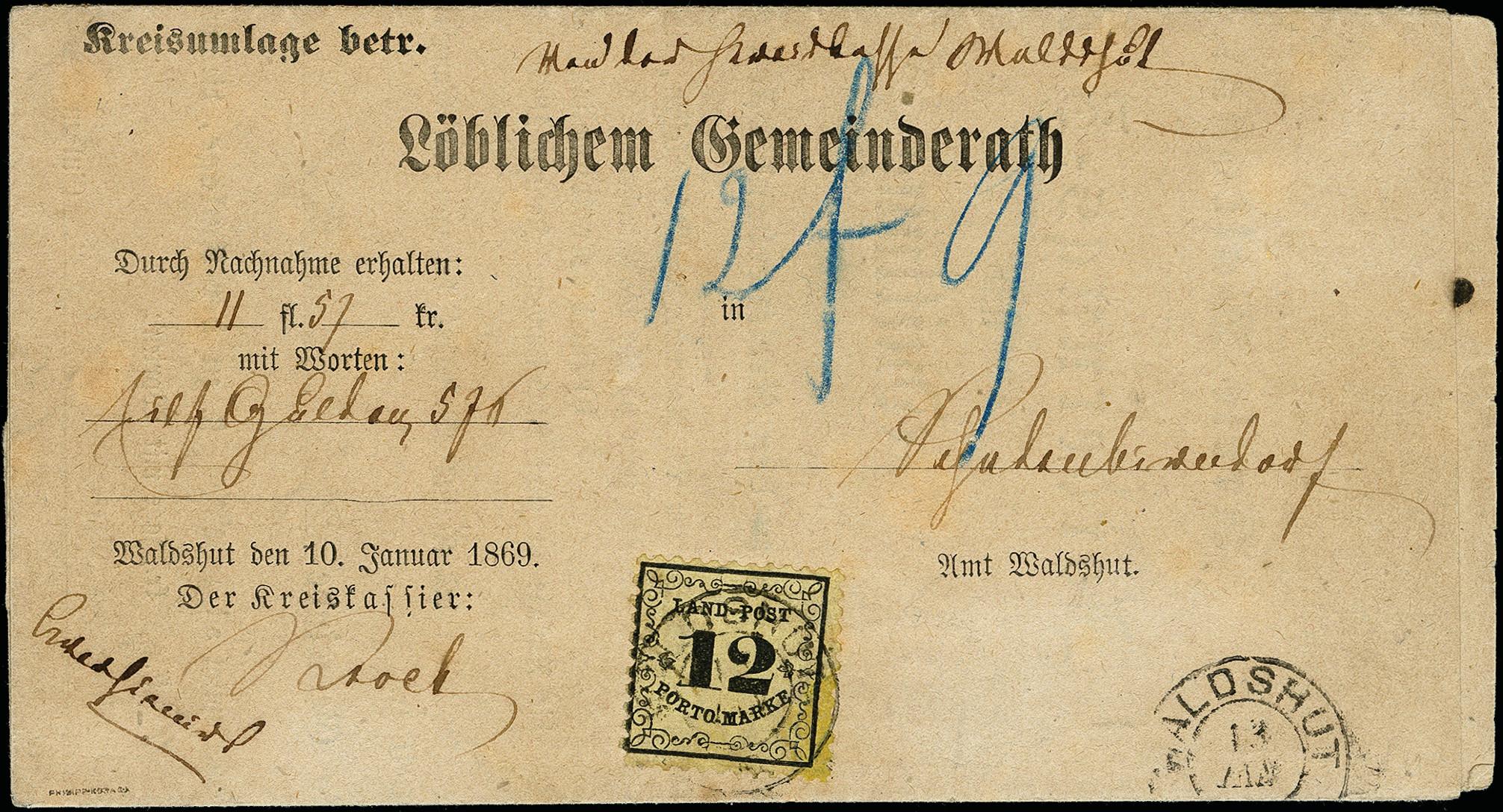 Lot 2856 - Baden baden rural post -  Heinrich Koehler Auktionen 373rd Heinrich Köhler auction - Day 5
