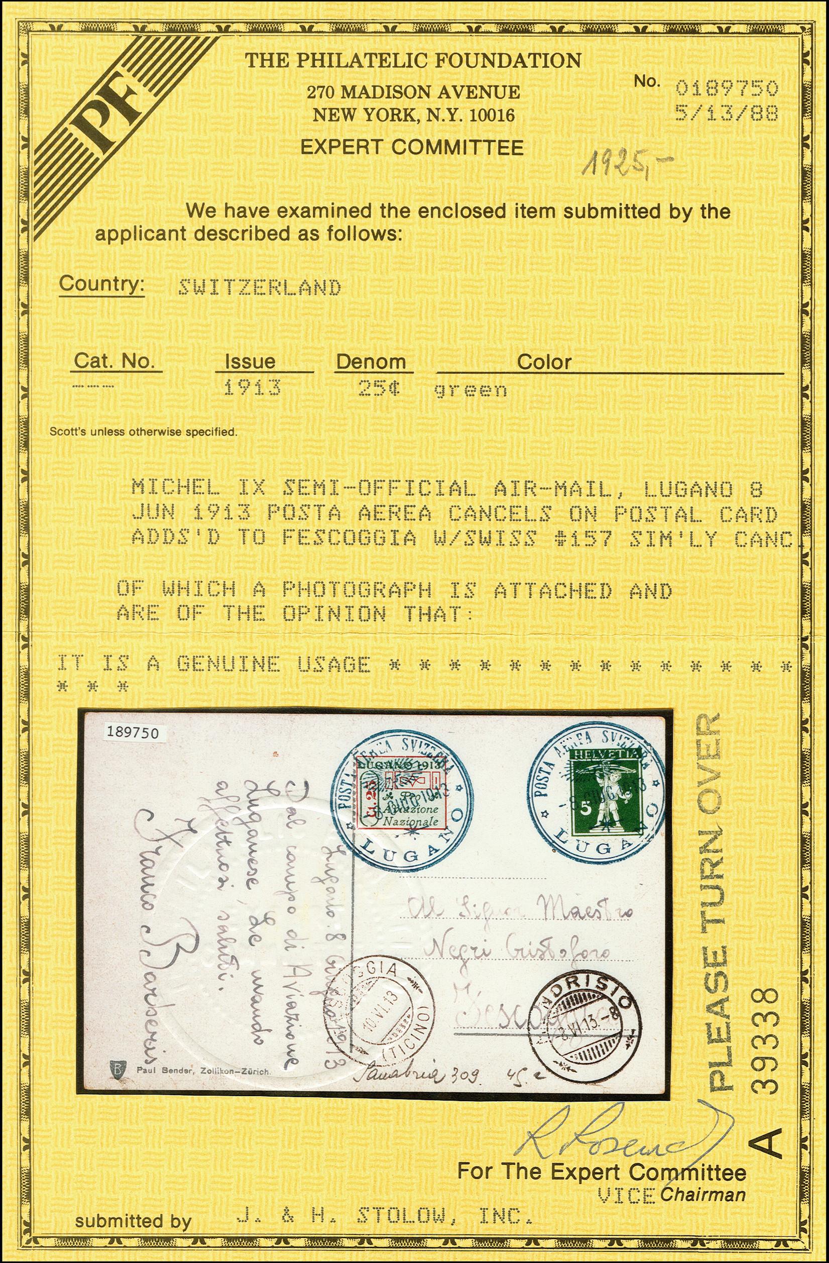 Lot 1132 - europa Switzerland - semi-offical airmail -  Heinrich Koehler Auktionen 375rd Heinrich Köhler auction - Day 1