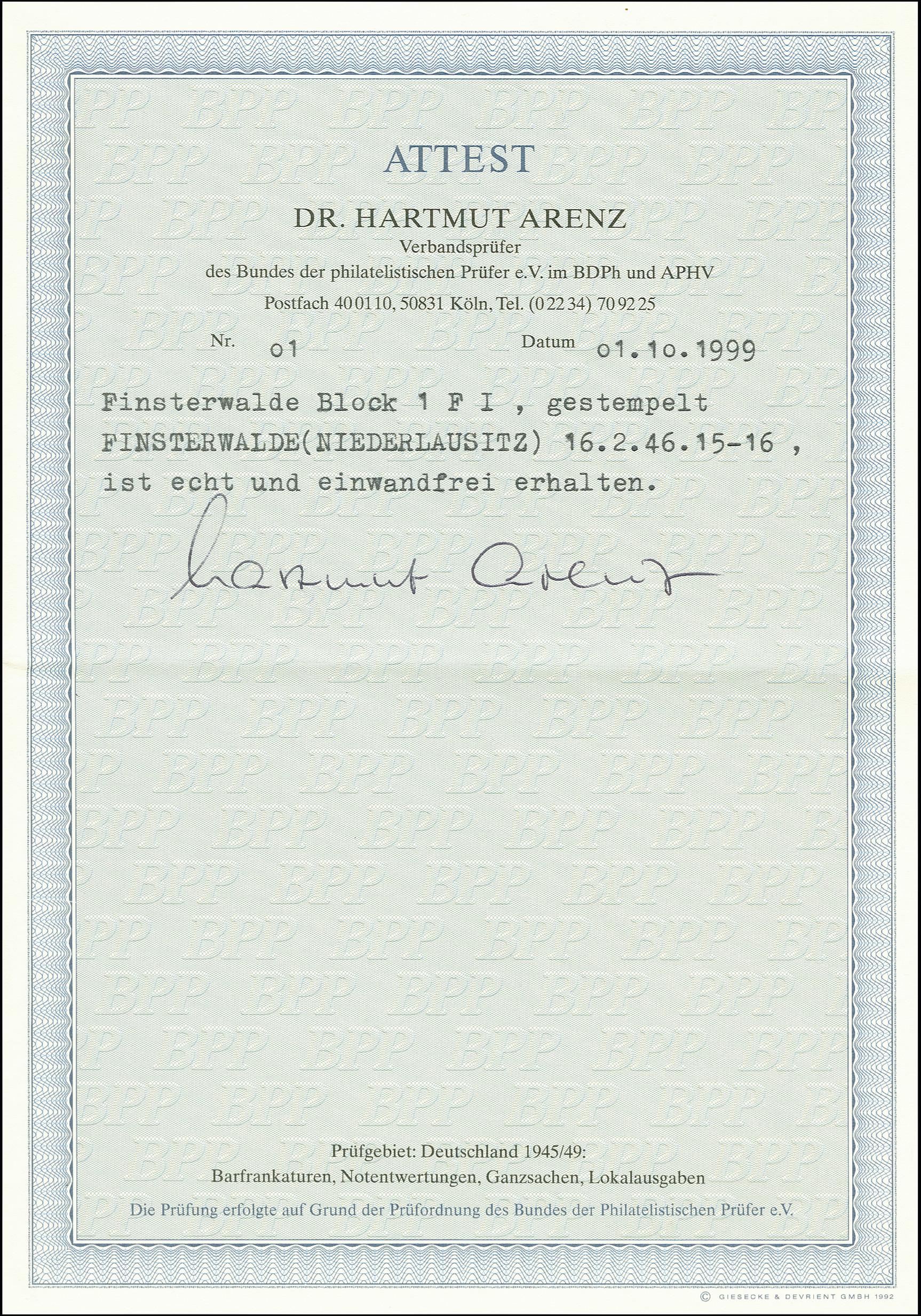 Lot 3465 - deutsche lokalausgaben ab 1945 finsterwalde -  Heinrich Koehler Auktionen 375rd Heinrich Köhler auction - Day 3