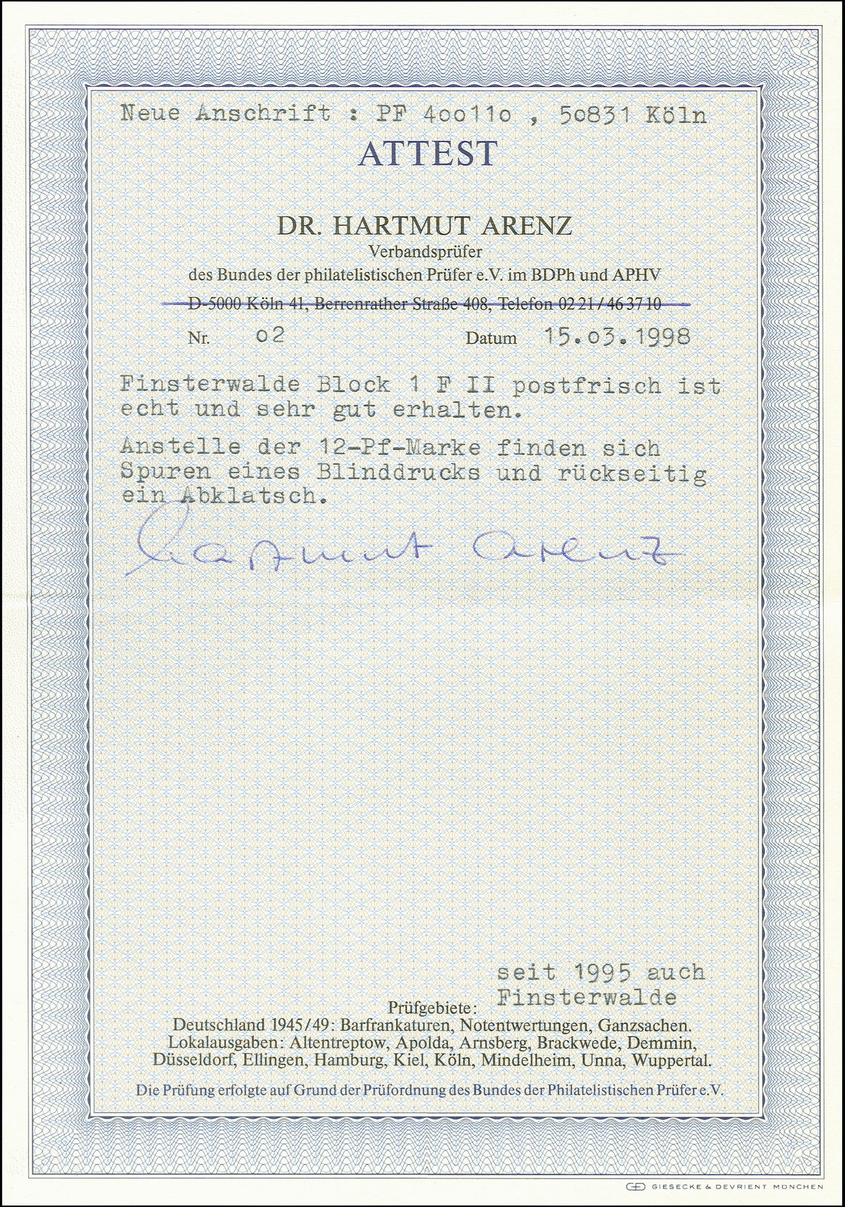 Lot 3467 - deutsche lokalausgaben ab 1945 finsterwalde -  Heinrich Koehler Auktionen 375rd Heinrich Köhler auction - Day 3