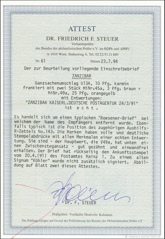 Lot 2856 - deutsch-ostafrika German East Africa - forerunners Zanzibar -  Heinrich Koehler Auktionen 375rd Heinrich Köhler auction - Day 2