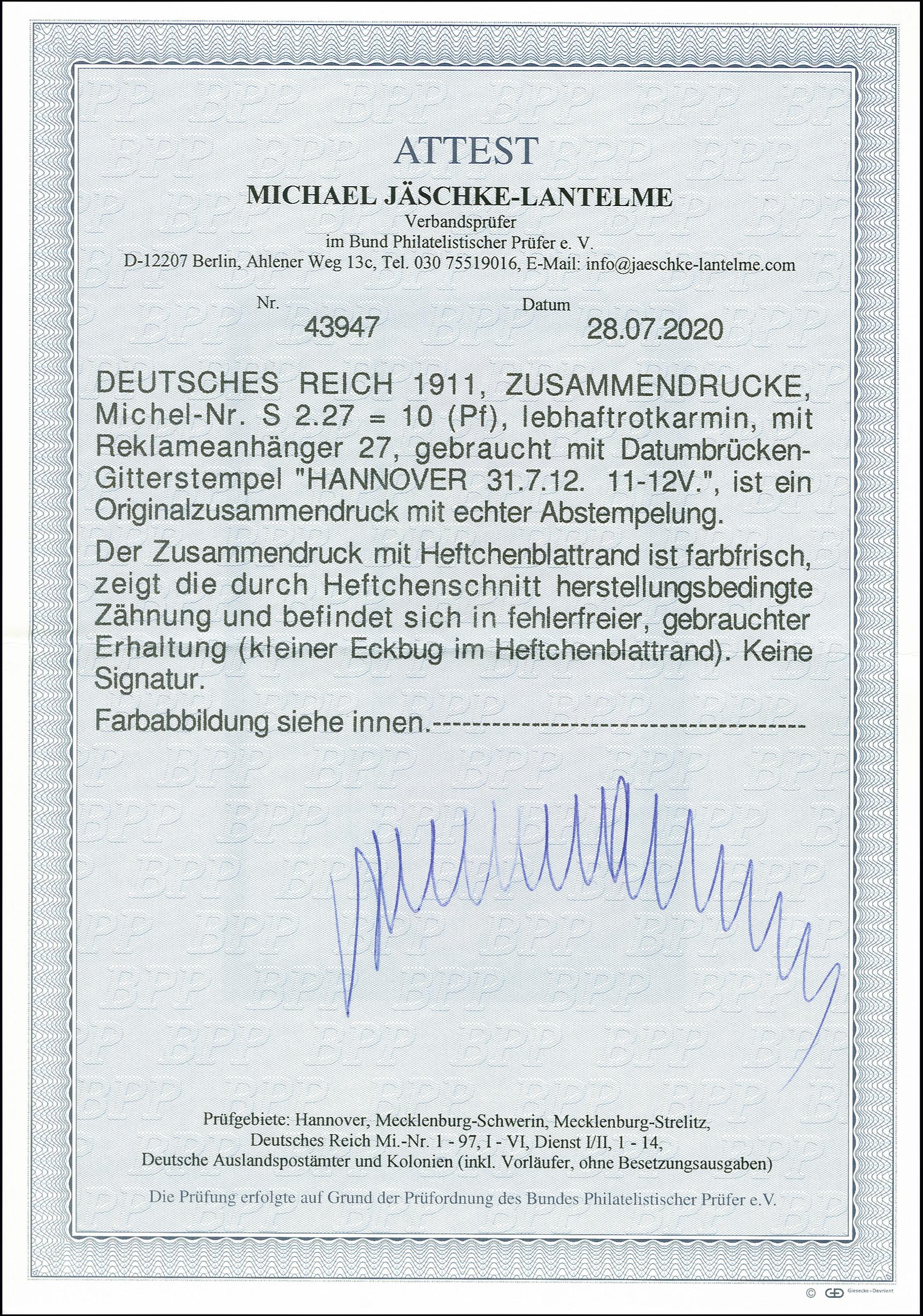 Lot 2667 - Deutsches Reich german empire - se-tenants -  Heinrich Koehler Auktionen 375rd Heinrich Köhler auction - Day 2