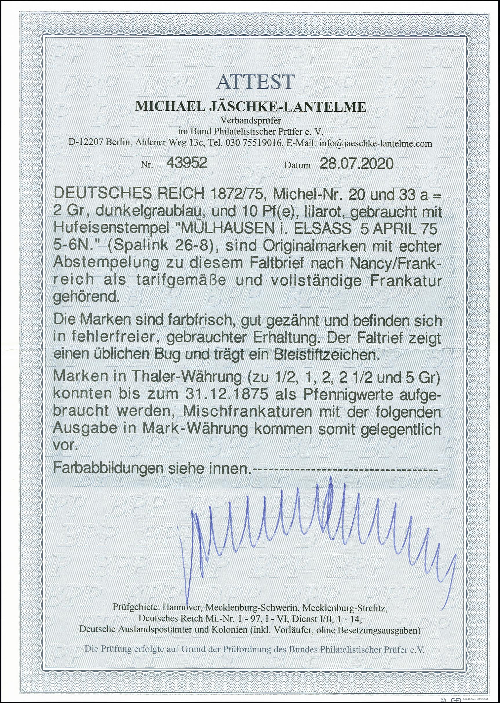 Lot 2447 - Main catalogue German Empire -  Heinrich Koehler Auktionen 375rd Heinrich Köhler auction - Day 2