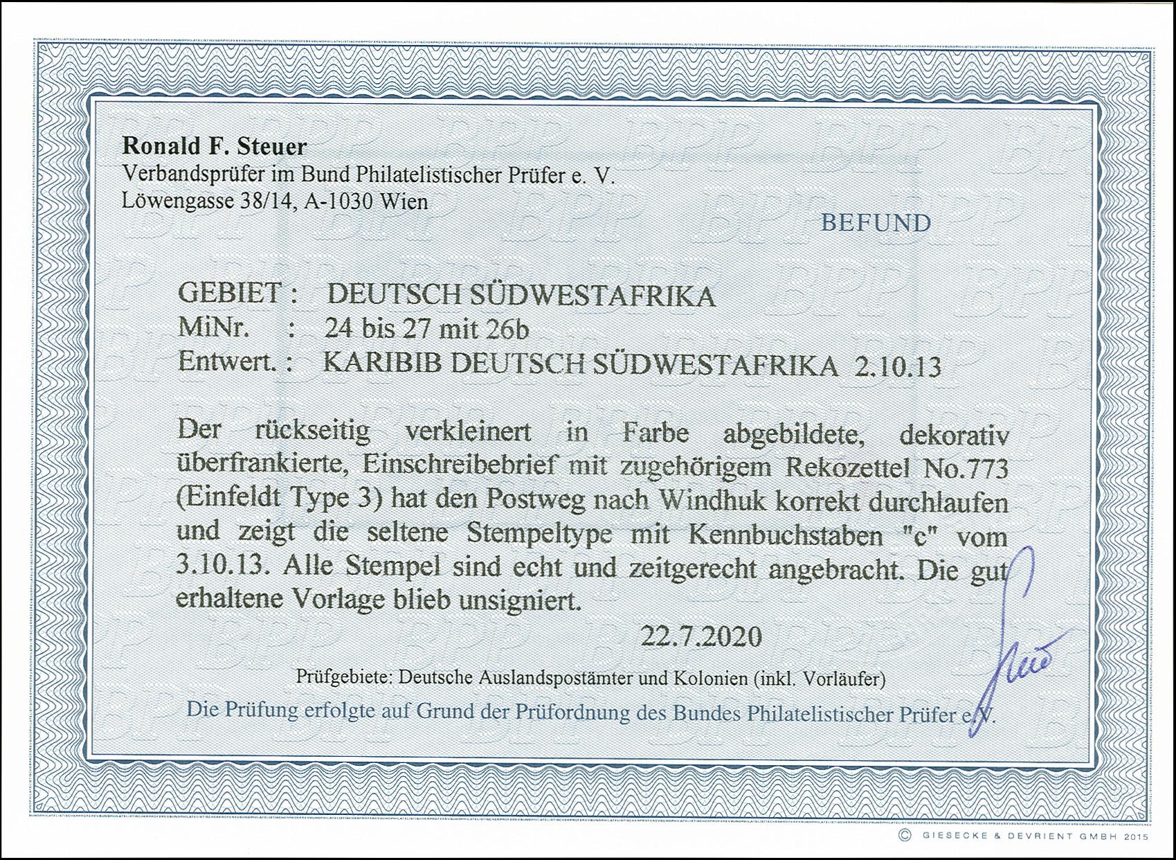 Lot 2909 - deutsch-südwestafrika german south-west africa - cancellations -  Heinrich Koehler Auktionen 375rd Heinrich Köhler auction - Day 2