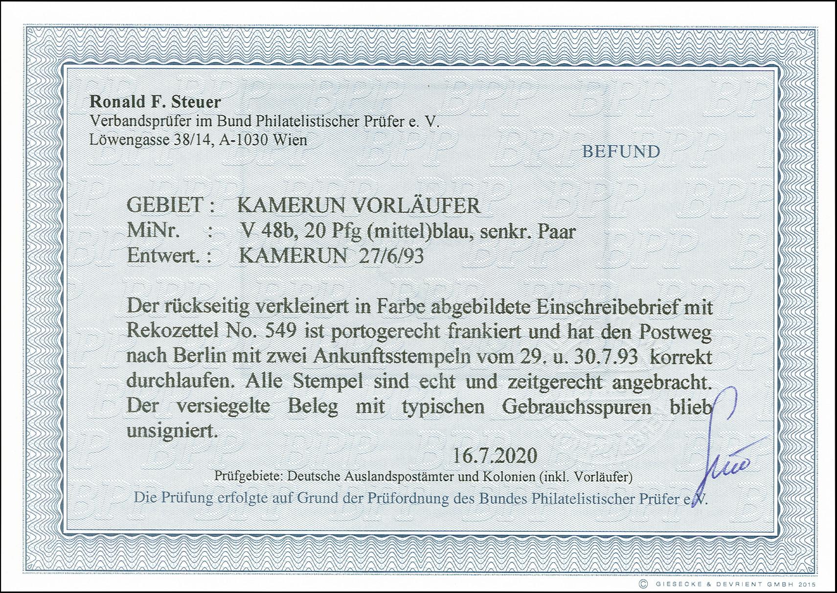 Lot 2914 - kamerun cameroon - forerunners -  Heinrich Koehler Auktionen 375rd Heinrich Köhler auction - Day 2