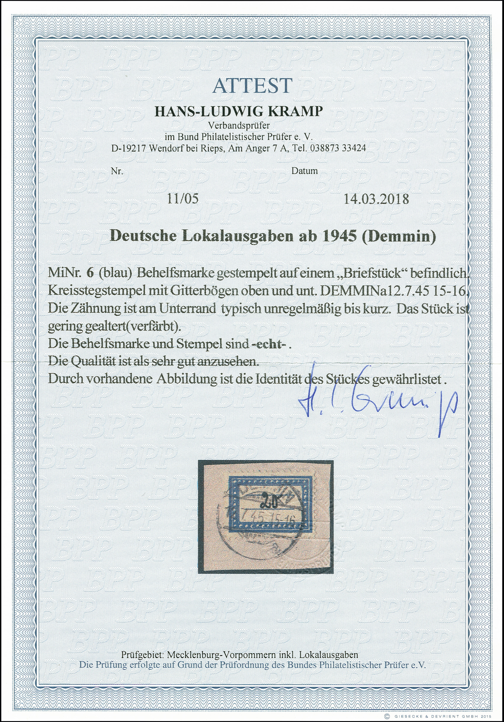 Lot 3454 - deutsche lokalausgaben ab 1945 demmin -  Heinrich Koehler Auktionen 375rd Heinrich Köhler auction - Day 3