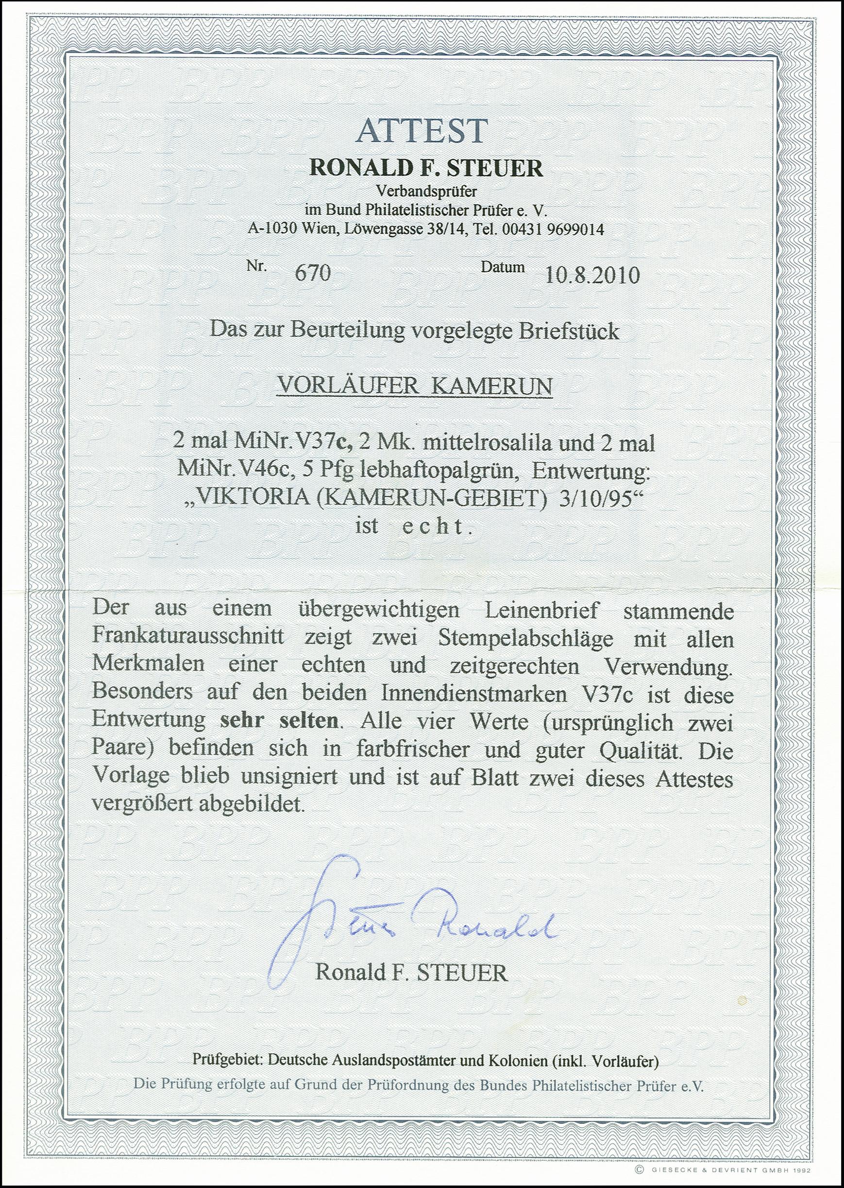 Lot 2913 - kamerun cameroon - forerunners -  Heinrich Koehler Auktionen 375rd Heinrich Köhler auction - Day 2