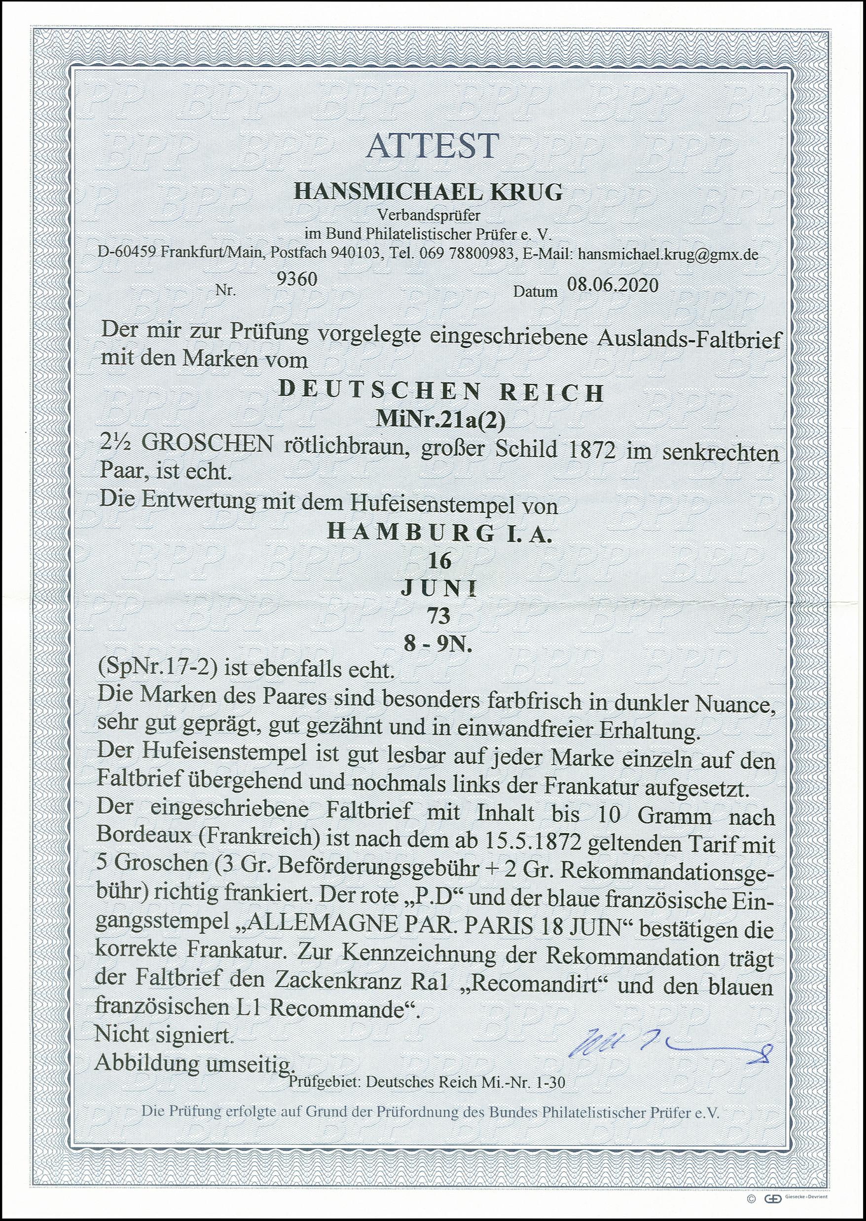 Lot 2448 - Main catalogue German Empire -  Heinrich Koehler Auktionen 375rd Heinrich Köhler auction - Day 2