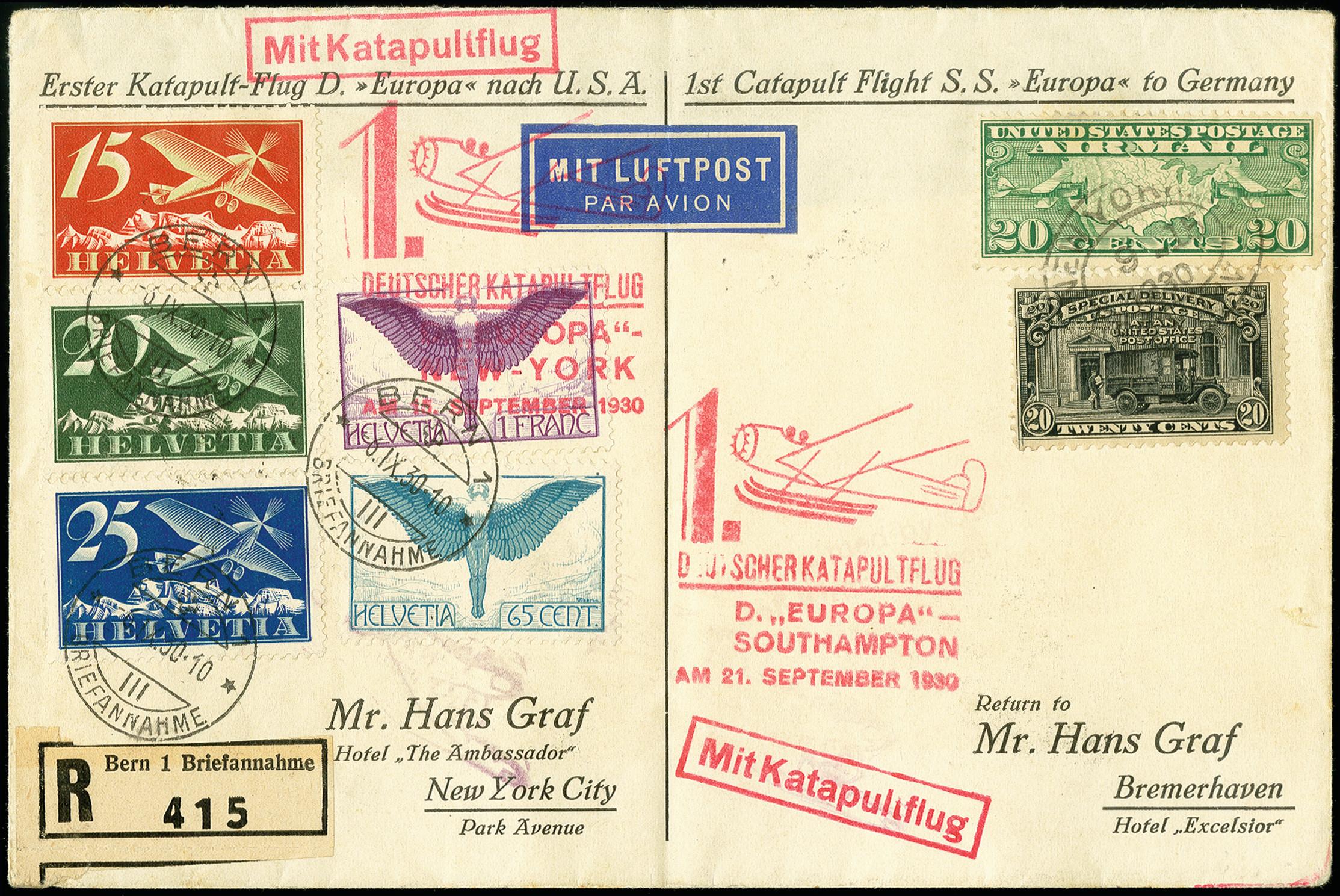 Lot 2301 - luftpost catapult post -  Heinrich Koehler Auktionen 375rd Heinrich Köhler auction - Day 1