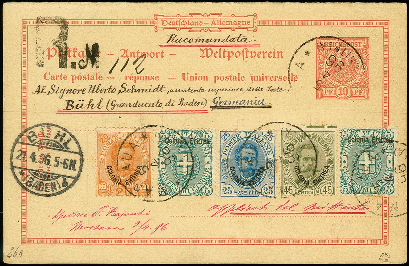 Lot 1723 - italienische post im ausland italian eritrea -  Heinrich Koehler Auktionen 375rd Heinrich Köhler auction - Day 1