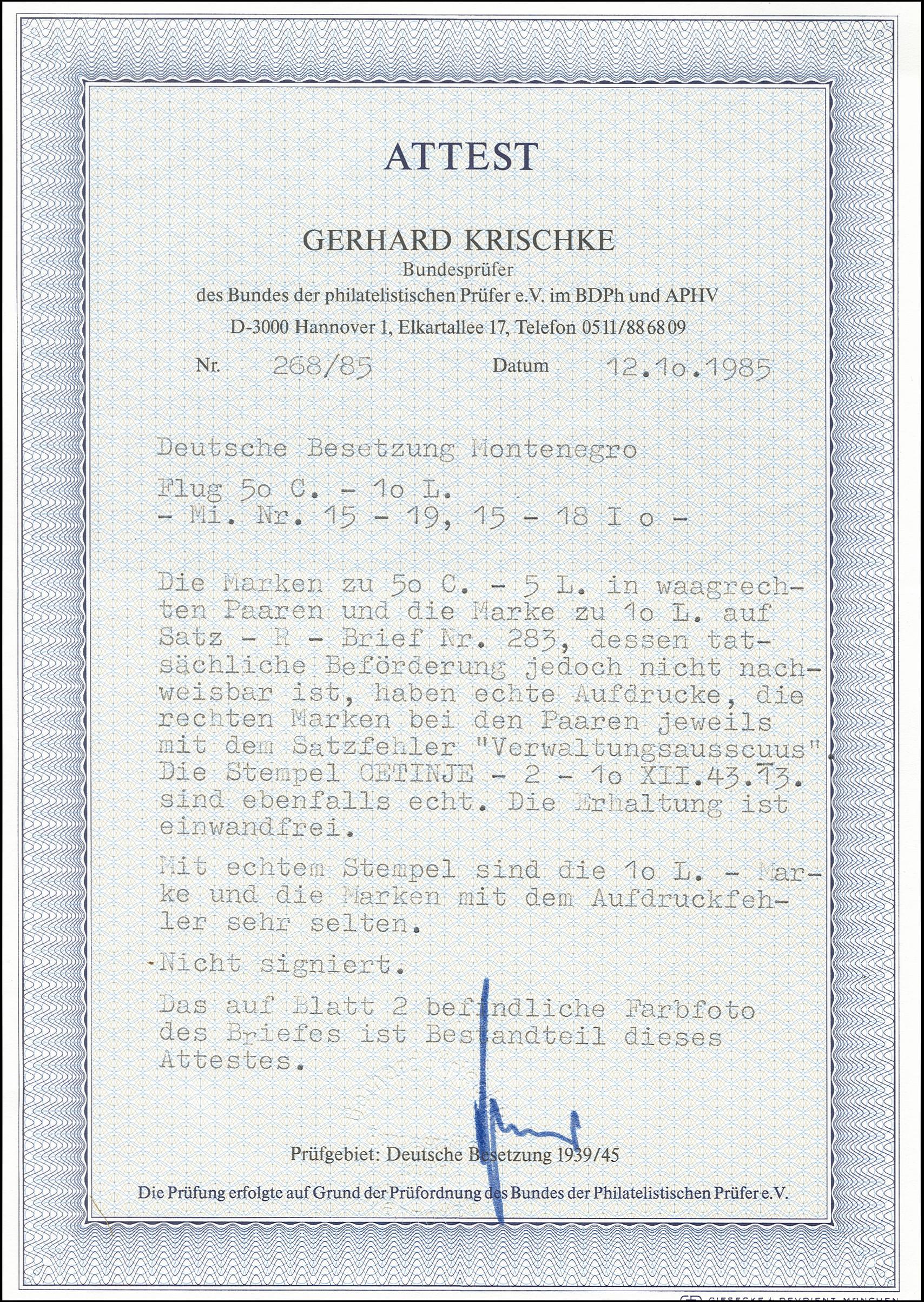Lot 3355 - german occupation issues 1939/45 monténégro -  Heinrich Koehler Auktionen Heinrich Köhler Auction 376 - Day 4