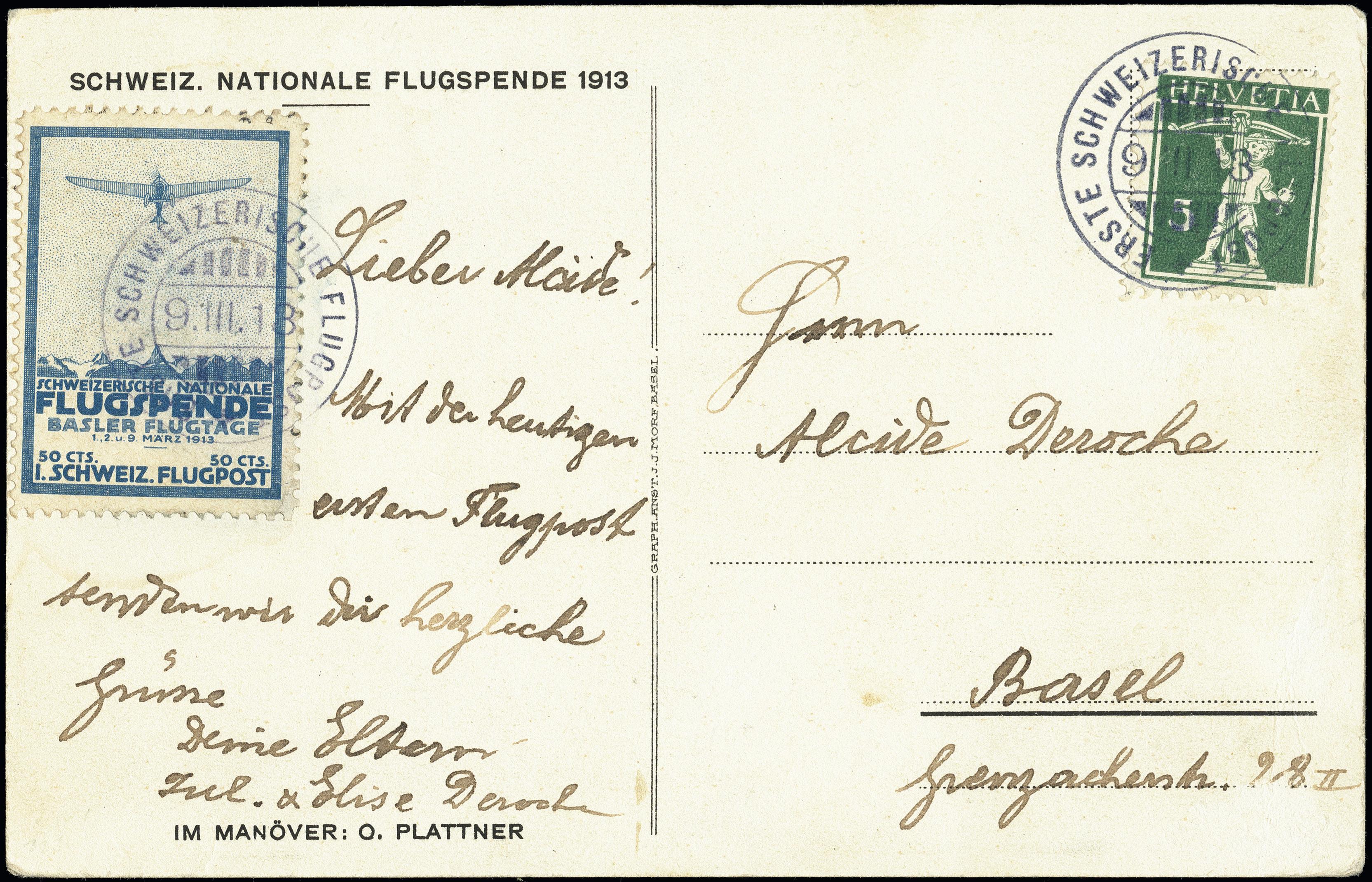 Lot 1040 - europe Switzerland - semi-offical airmail -  Heinrich Koehler Auktionen Heinrich Köhler Auction 376 - Day 1