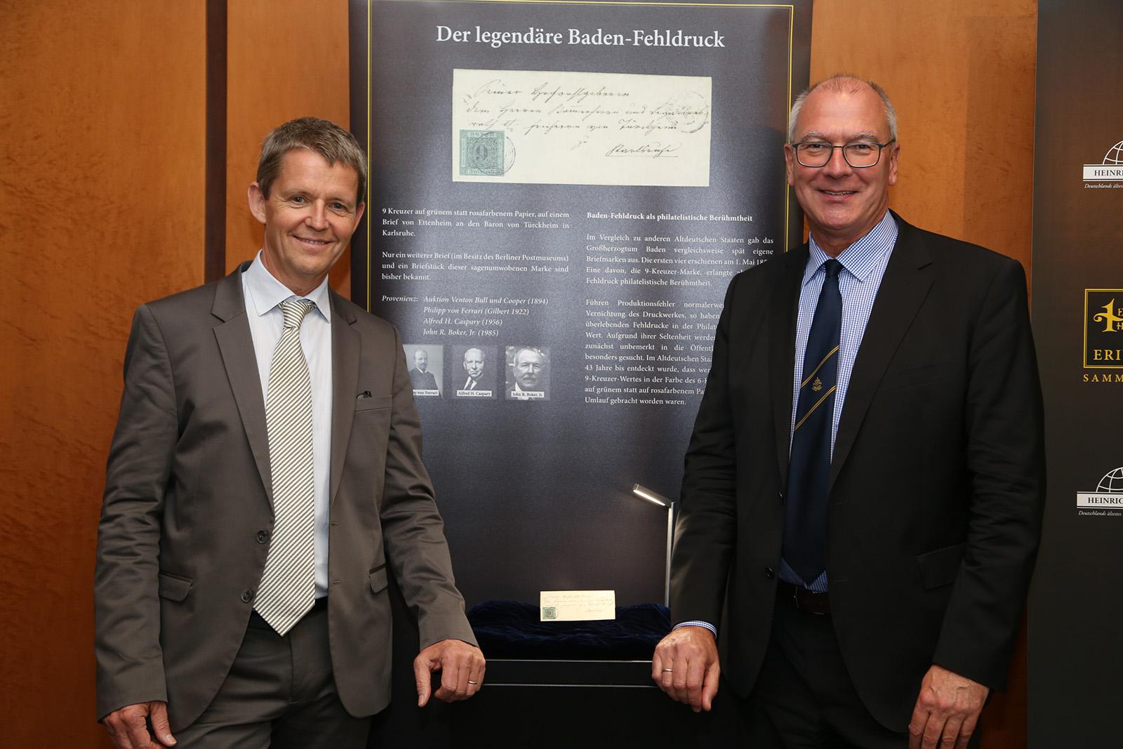 Dieter Michelson und Karl Louis mit dem Baden-Fehldruck
