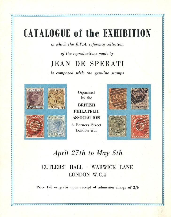 """Ausstellungskatalog einer speziellen """"Jean de Sperati""""-Vergleichssammlung 1954. Bildvorlage: WM-Archiv"""
