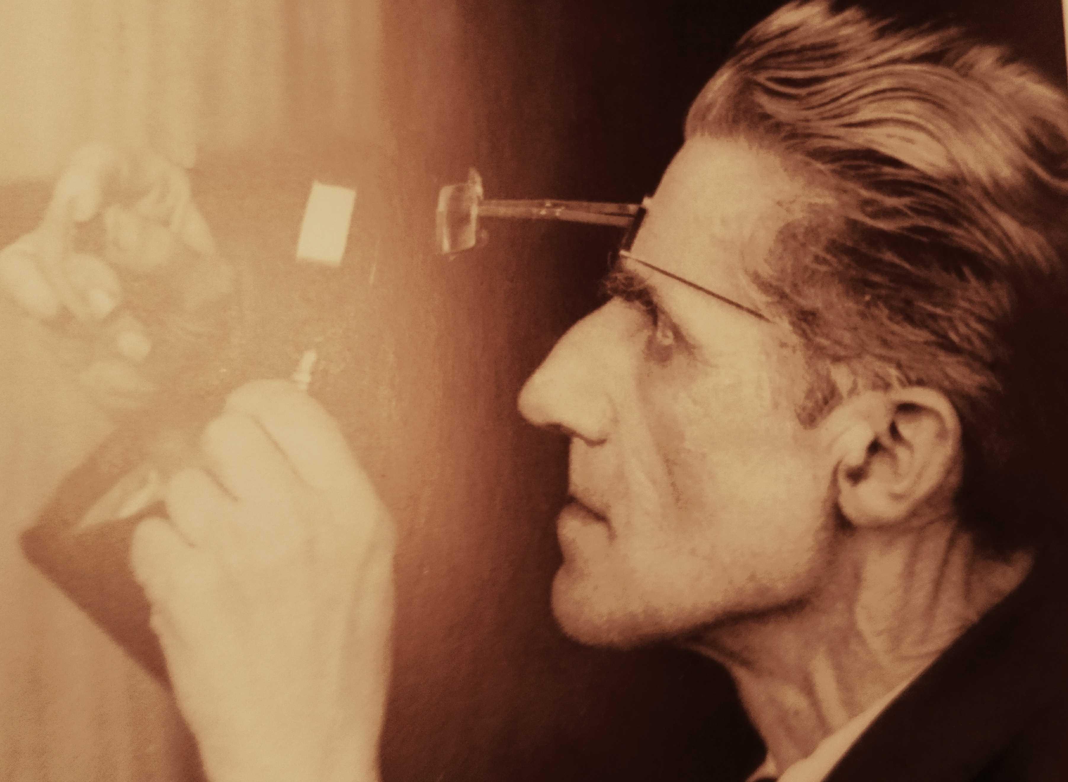 Jean de Sperati during the careful quality control of a replica. From: WM archive