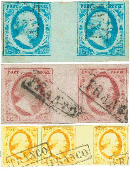"The first postage stamps of the Netherlands from the year 1852 in rare ""gutter pair"" sold for 60.000 euros at Corinphila Veilingen in Amstelveen in 2010."