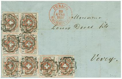 Eight stamps of the Swiss 'Winterthur issue' of 1850 on a letter; in 2009 this was auctioned by Corinphila Auctions in Zürich for 480,000 Swiss francs.