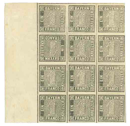 A block of twelve copies of the 'one kreuzer black', the first German stamp of 1849, with one stamp inverted (second row, first stamp!) 320,000 euros hammer price at Heinrich Koehler in 2009.