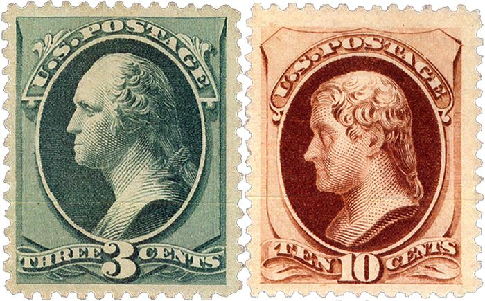 The beautifully centered 3c and 10c special printing (soft paper) were hammered at Nutmeg, now H.R. Harmer in 2008 for respectively 135,000 and 90,000 dollar.